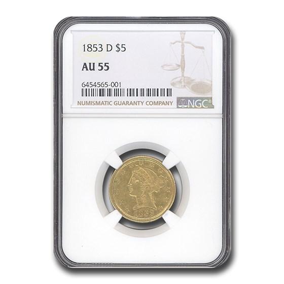 1853-D $5 Liberty Gold Half Eagle AU-55 NGC