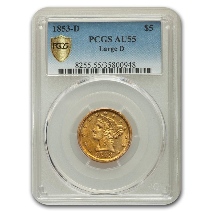 1853-D $5 Liberty Gold Half Eagle AU-55 PCGS (Large D)