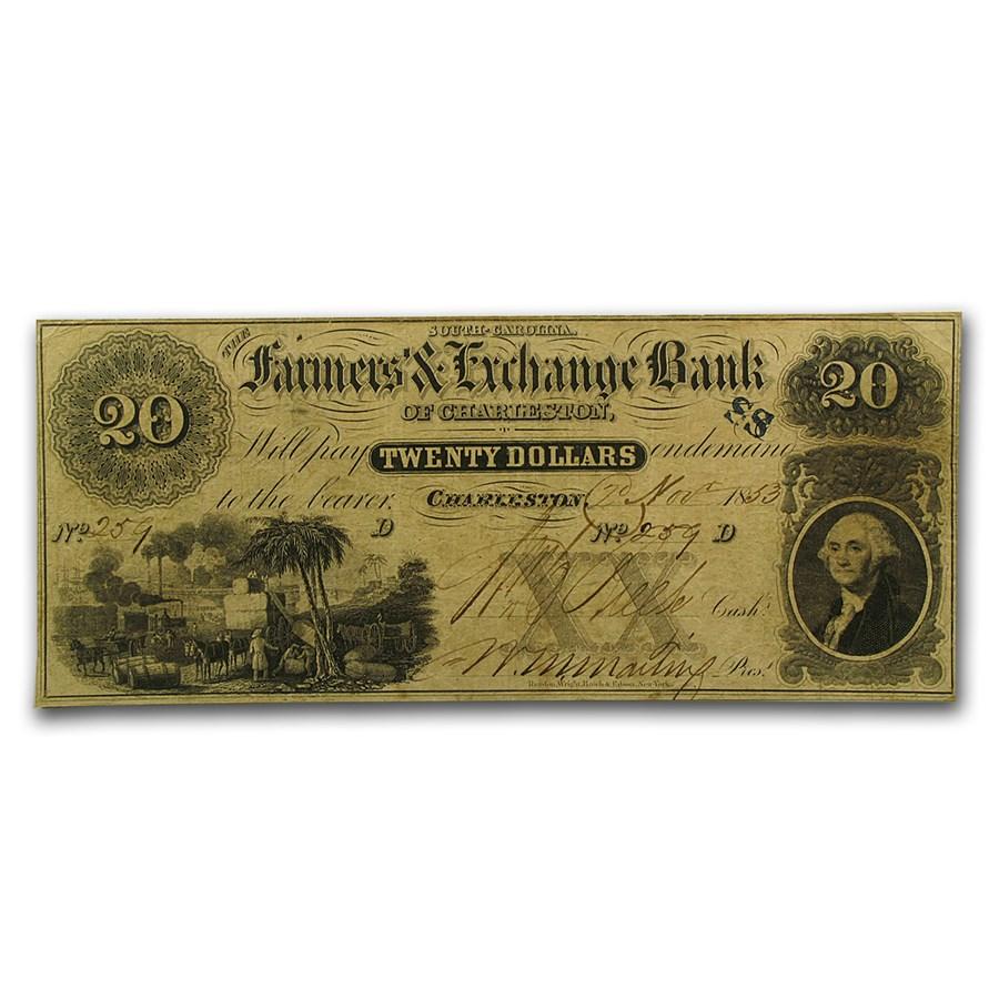 1853 Farmers & Exchange Bank of Charleston, SC $20 VF