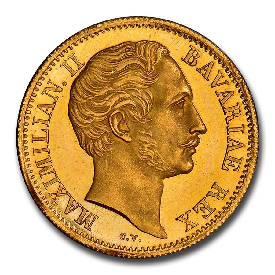 1853 German State Bavaria Gold Ducat Maximilian II MS-63 NGC (PL)