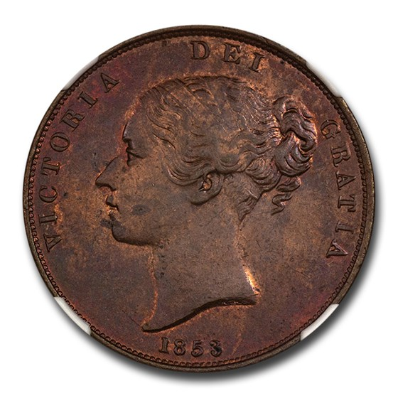 1853 Great Britain Copper Penny MS-64 NGC (Brown)