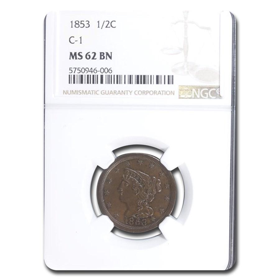 1853 Half Cent MS-62 NGC (Brown)
