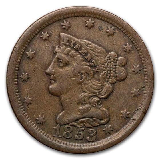1853 Half Cent XF