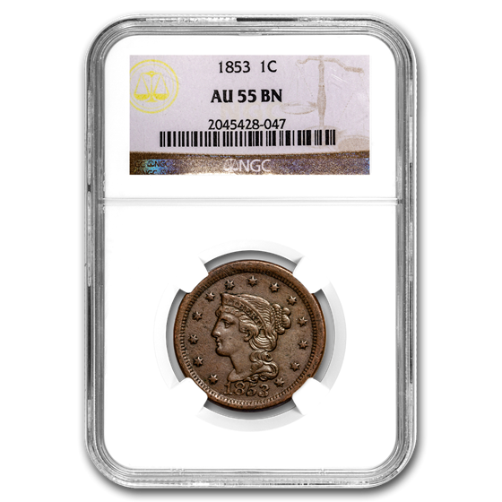 1853 Large Cent AU-55 NGC (Brown)