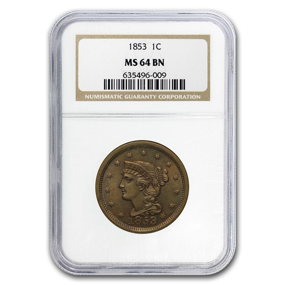 1853 Large Cent MS-64 NGC (Brown)