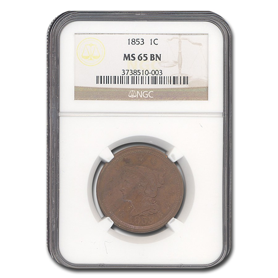 1853 Large Cent MS-65 NGC (Brown)