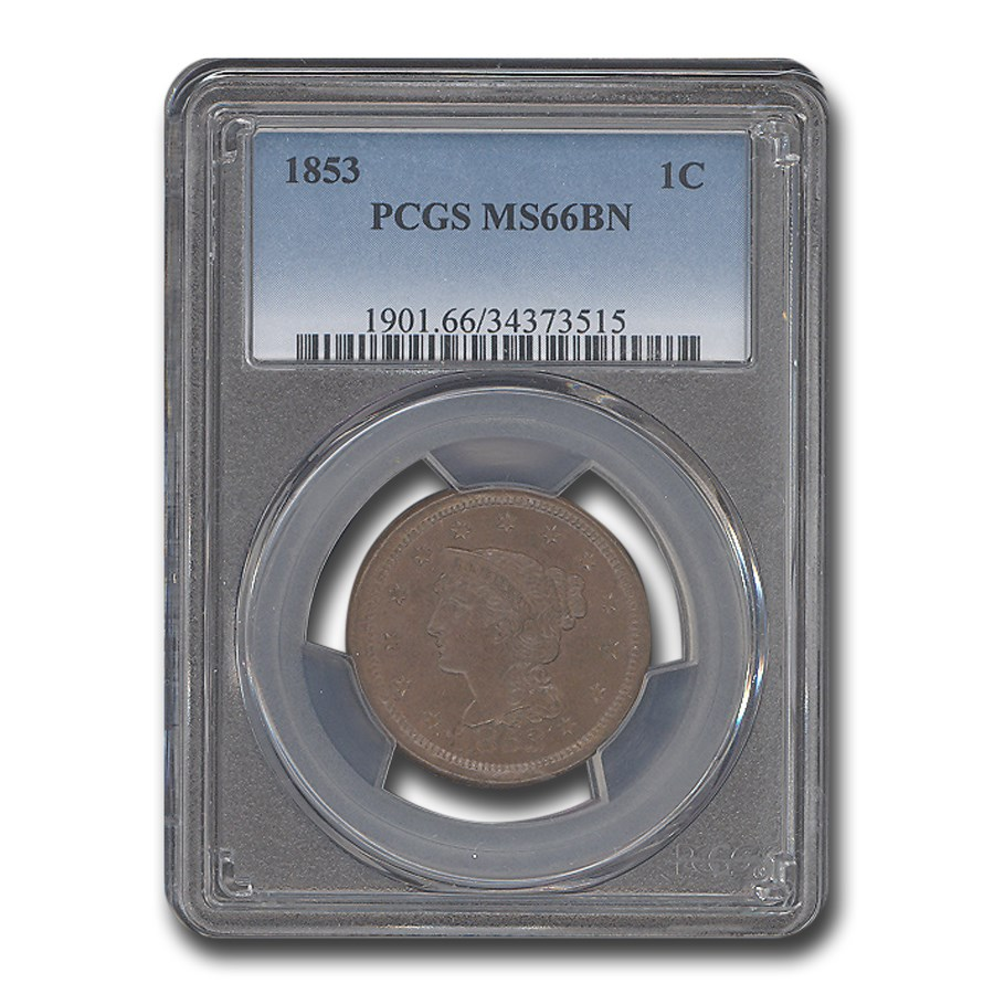 1853 Large Cent MS-66 PCGS (Brown)