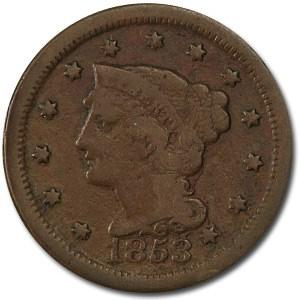 1853 Large Cent VG
