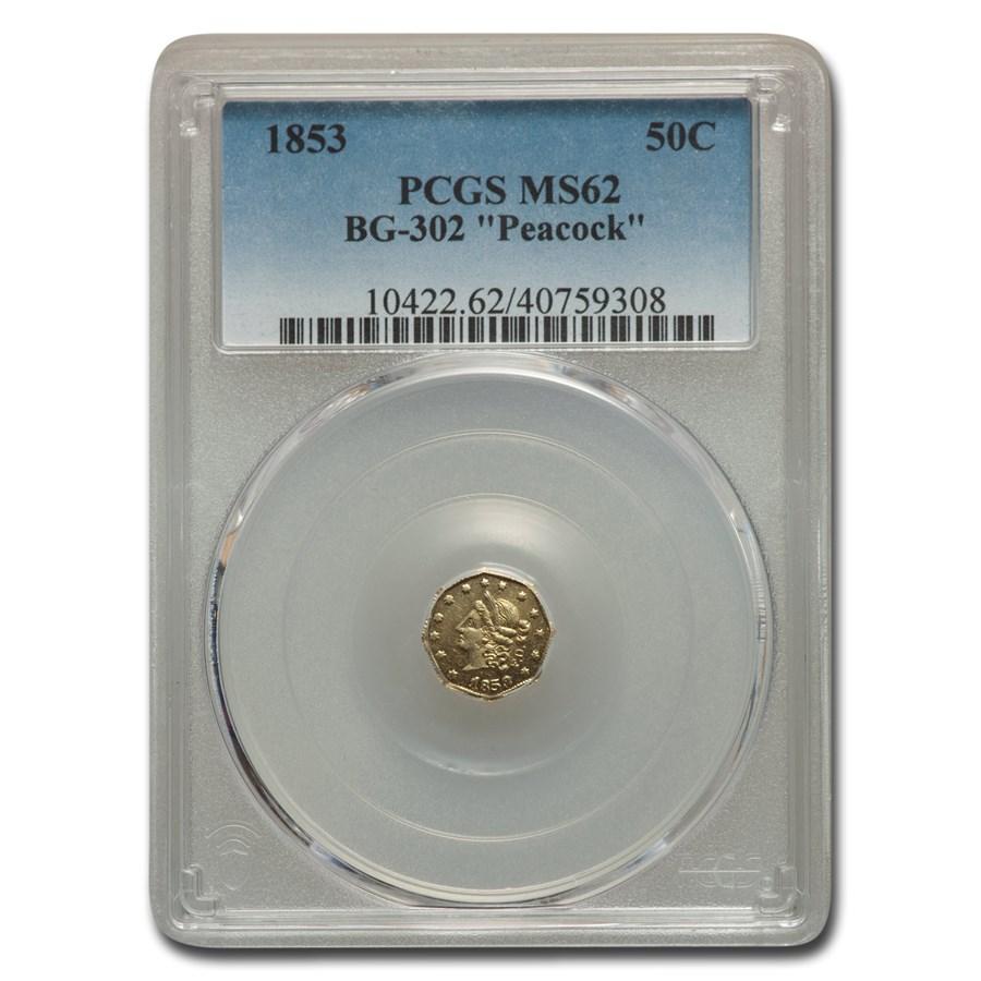 1853 Liberty Octagonal 50 Cent Gold MS-62 PCGS (BG-302 Peacock)