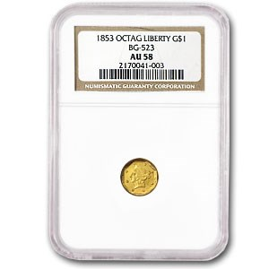 1853 Liberty Octagonal One Dollar Gold AU-58 NGC (BG-523)