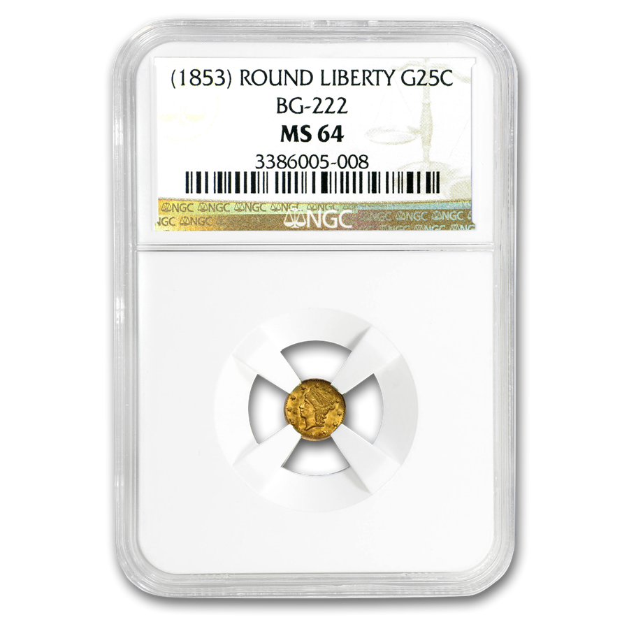 (1853) Liberty Round 25 Cent Gold MS-64 NGC (BG-222)