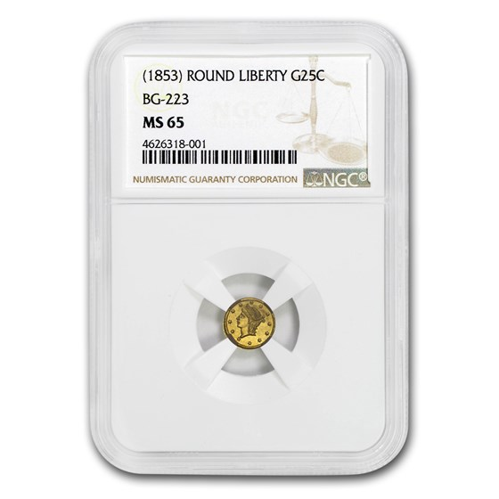 1853 Liberty Round 25 Cent Gold MS-65 NGC (BG-223)