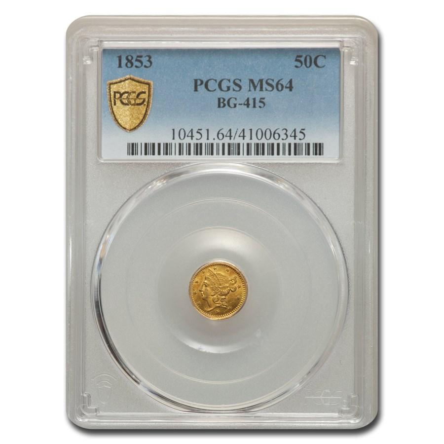 1853 Liberty Round 50 Cent Gold MS-64 PCGS (BG-415)