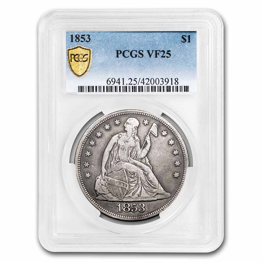 1853 Liberty Seated Dollar VF-25 PCGS