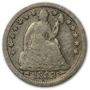 1853 Liberty Seated Half Dime w/Arrows VG