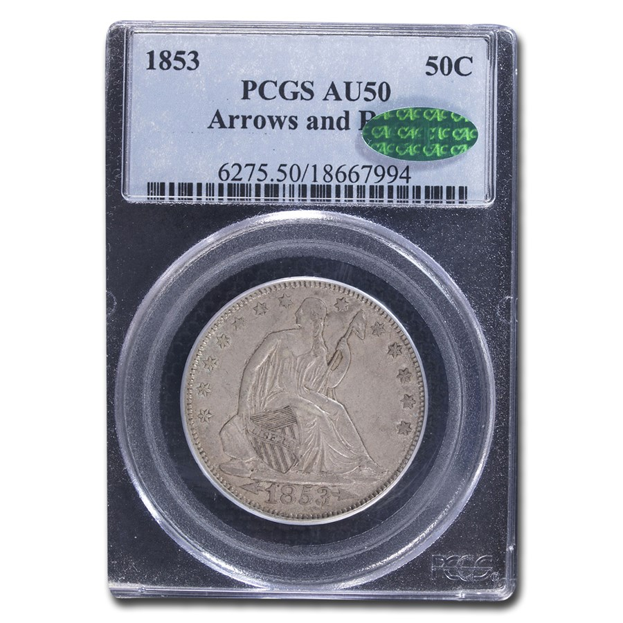 1853 Liberty Seated Half Dollar AU-50 PCGS CAC (Arrows & Rays)