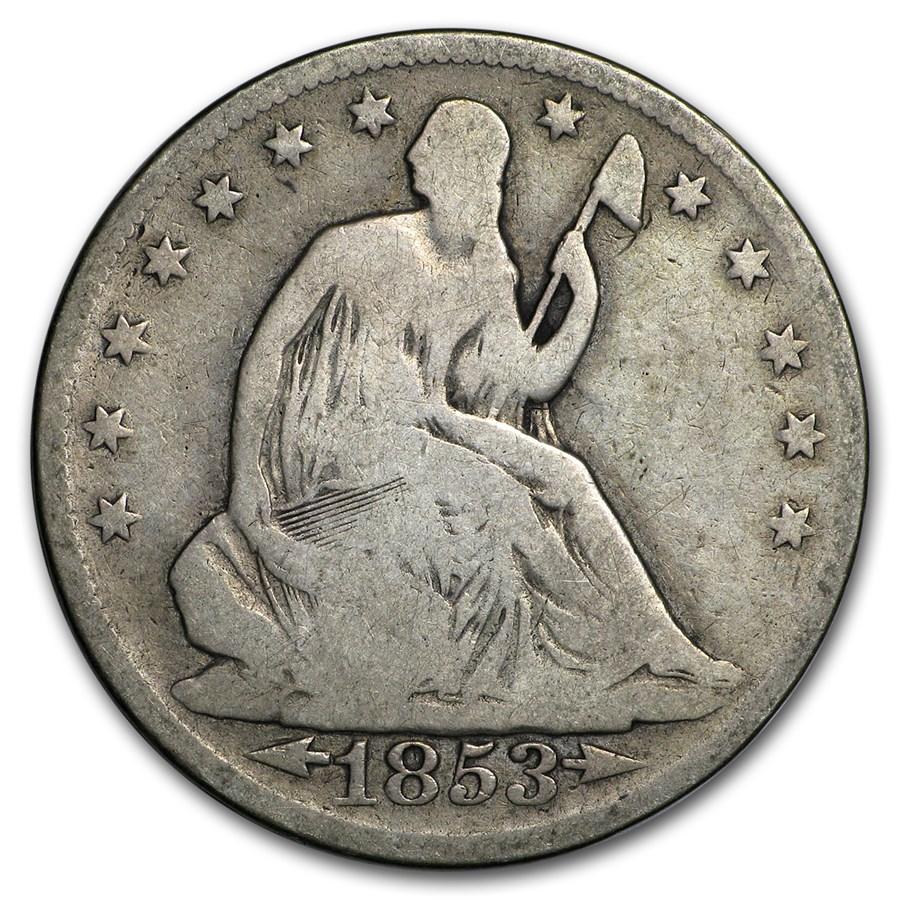 1853 Liberty Seated Half Dollar w/Arrows & Rays Good