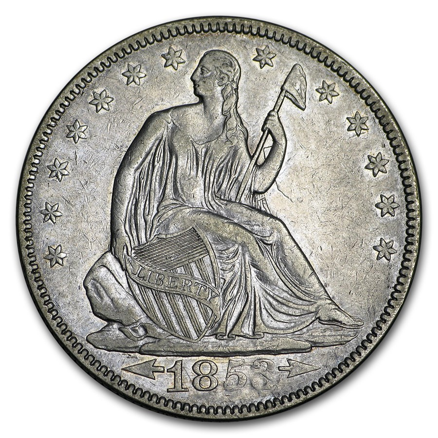 1853 Liberty Seated Half Dollar w/Arrows & Rays XF-45