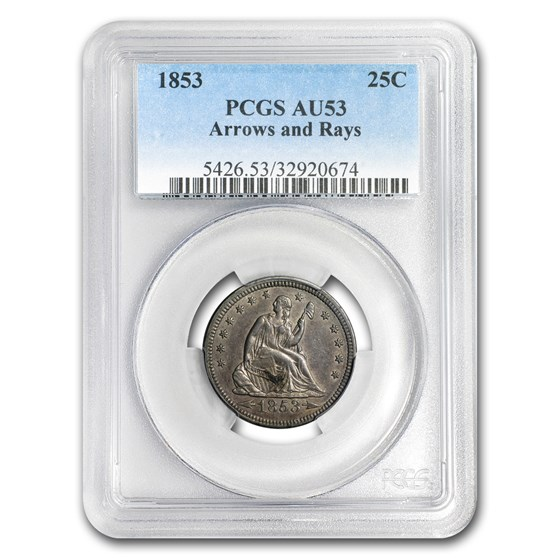 1853 Liberty Seated Quarter Arrows and Rays AU-53 PCGS