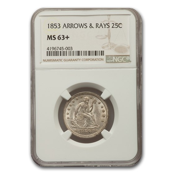 1853 Liberty Seated Quarter MS-63+ NGC (Arrows & Rays)