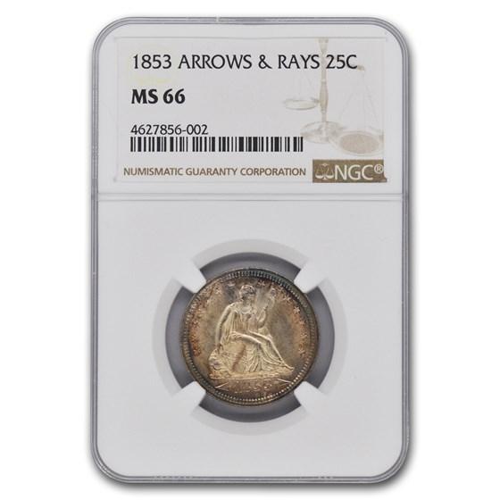 1853 Liberty Seated Quarter MS-66 NGC (Arrows & Rays)