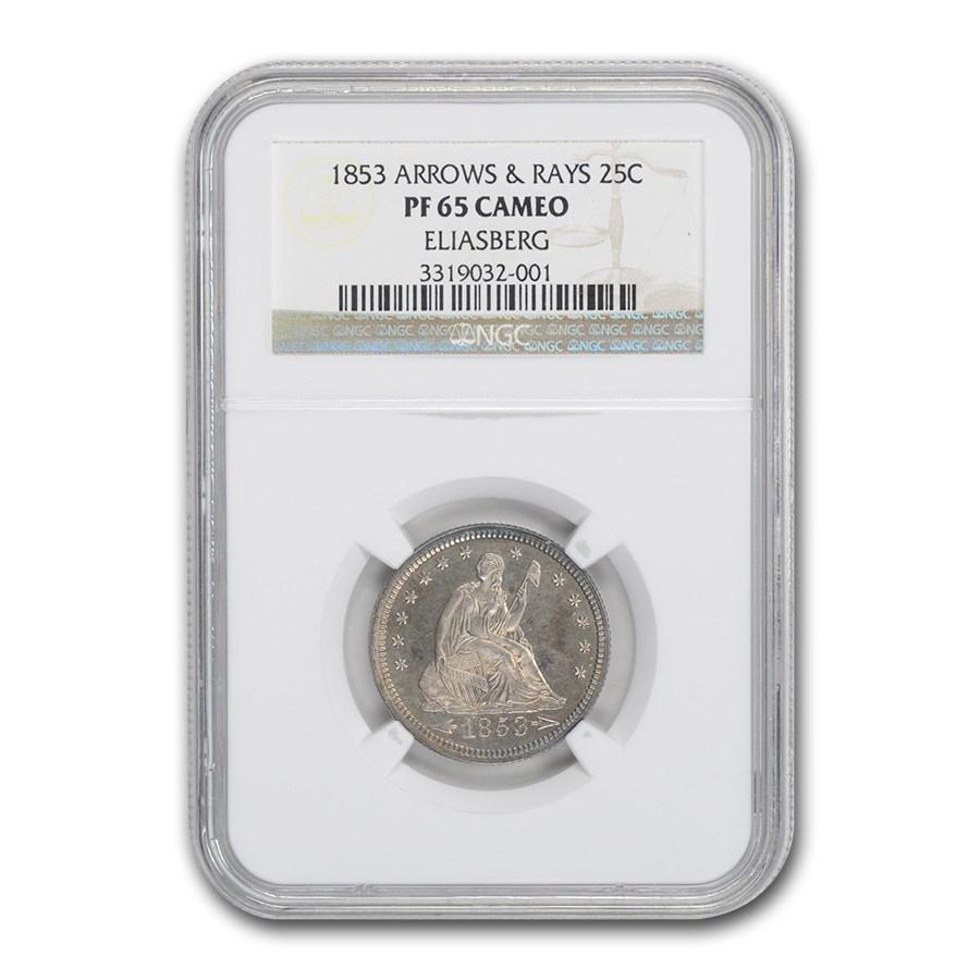 1853 Liberty Seated Quarter PF-65 Cameo NGC (Arrows & Rays)