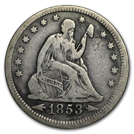 1853 Liberty Seated Quarter w/Arrows & Rays Fine