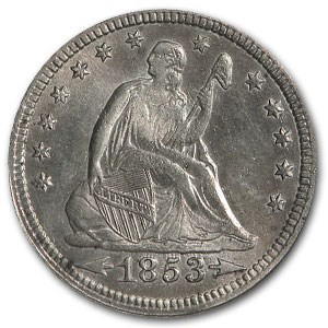 1853 Liberty Seated Quarter w/Arrows & Rays MS-60 Details (Clnd)