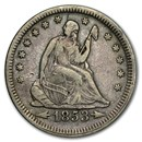 1853 Liberty Seated Quarter w/Arrows & Rays VF