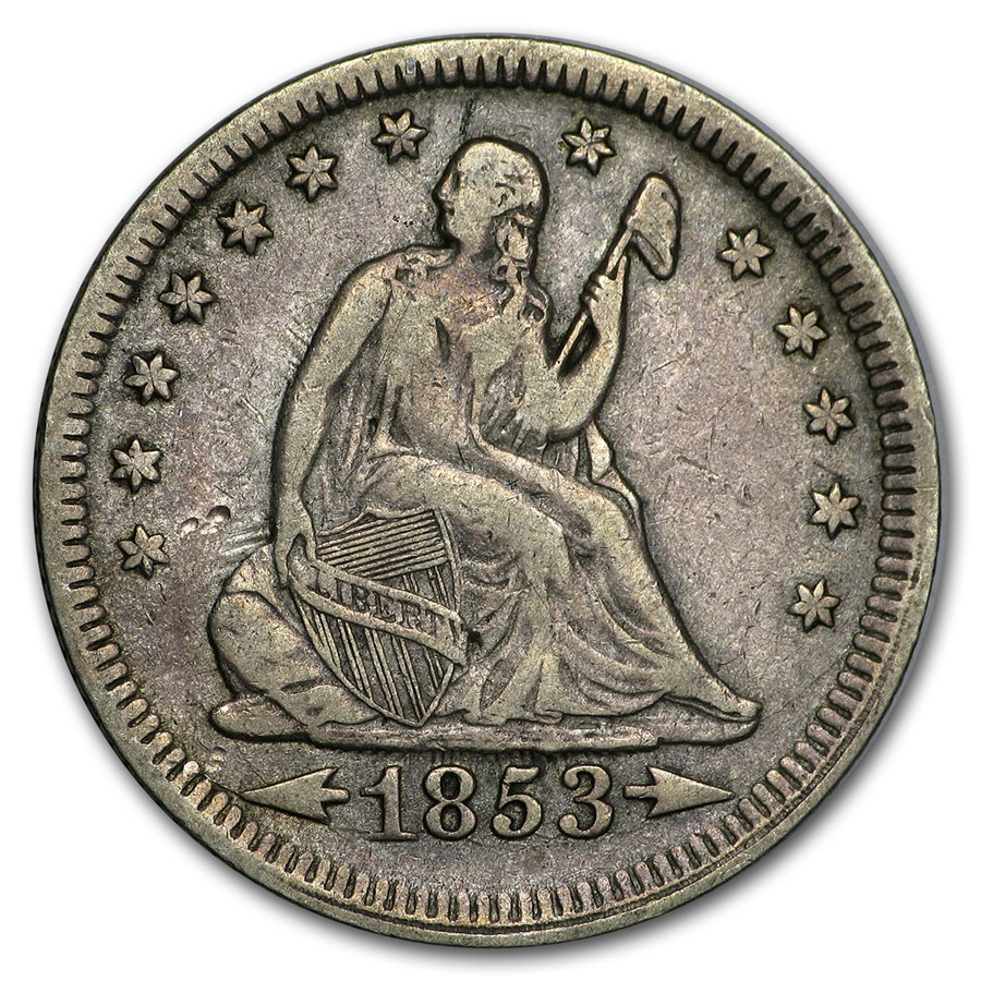 1853 Liberty Seated Quarter w/Arrows & Rays VF