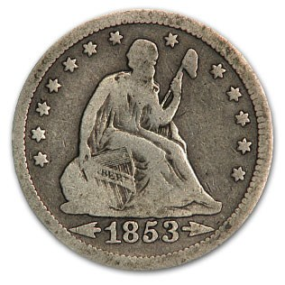 1853 Liberty Seated Quarter w/Arrows & Rays VG