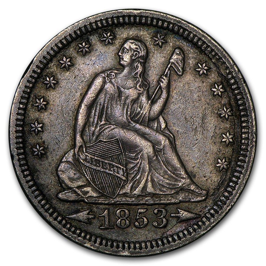 1853 Liberty Seated Quarter w/Arrows & Rays XF