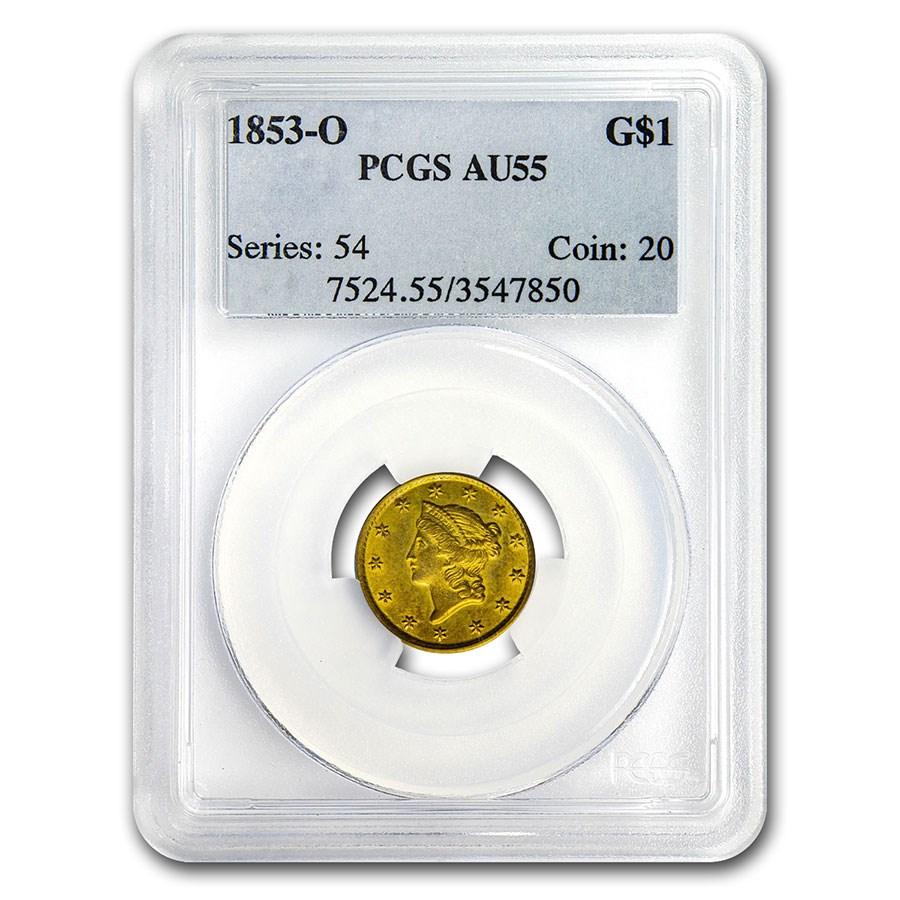 1853-O $1 Liberty Head Gold Dollar AU-55 PCGS