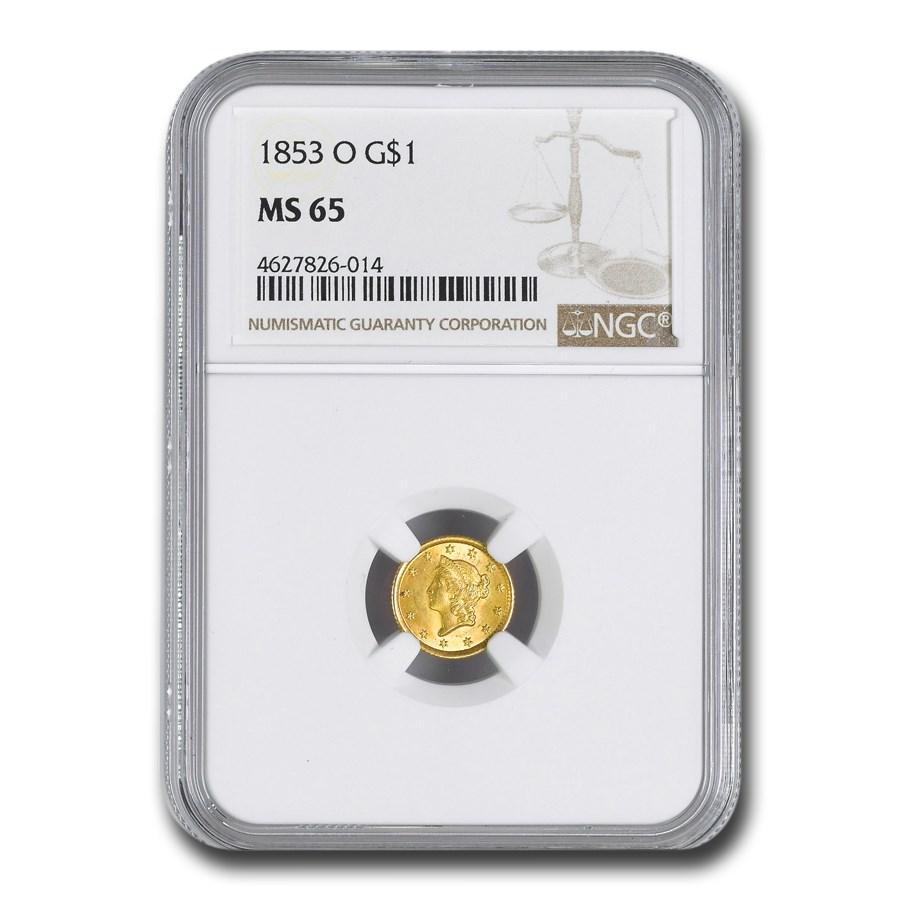 1853-O $1 Liberty Head Gold Dollar MS-65 NGC
