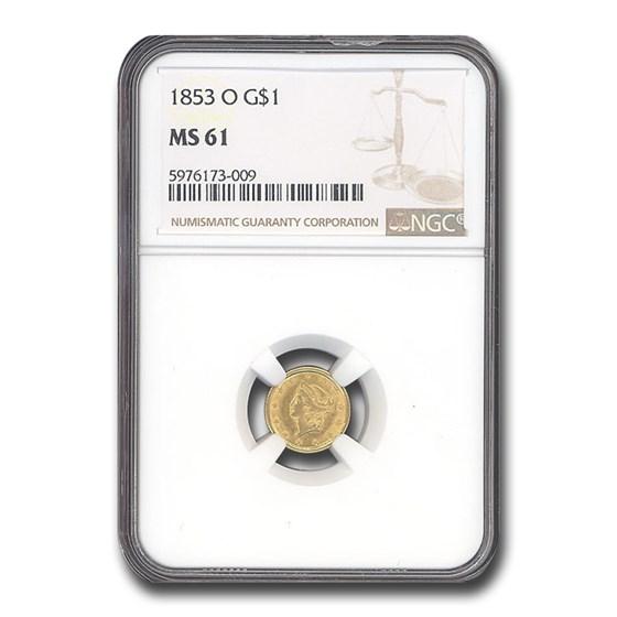 1853-O $1 Liberty Head Gold MS-61 NGC