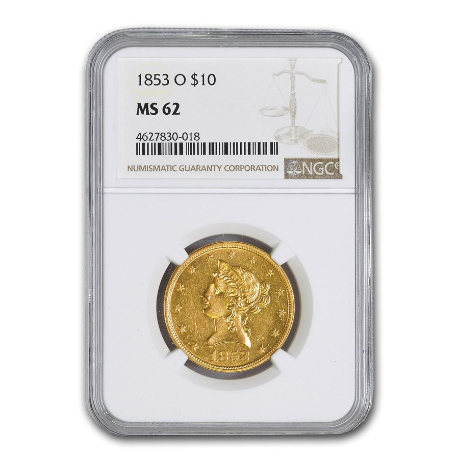 1853-O $10 Liberty Gold Eagle MS-62 NGC