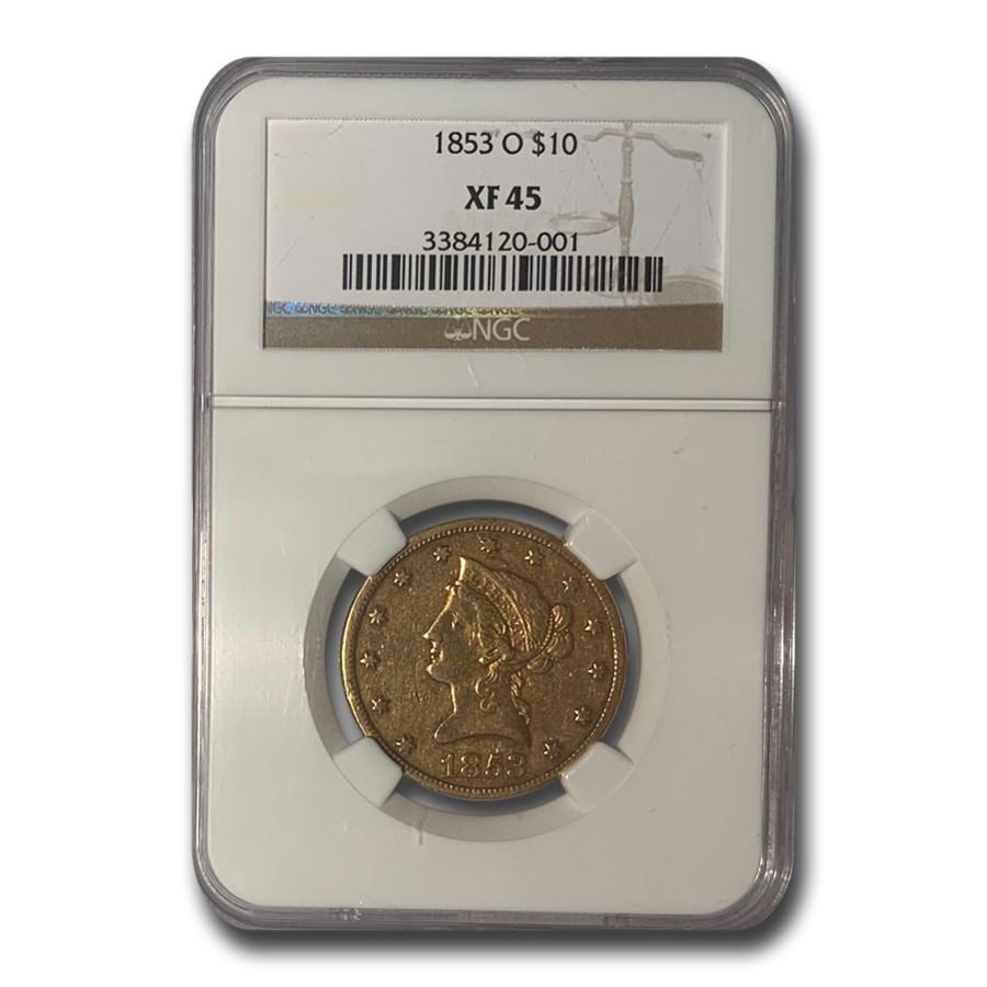 1853-O $10 Liberty Gold Eagle XF-45 NGC