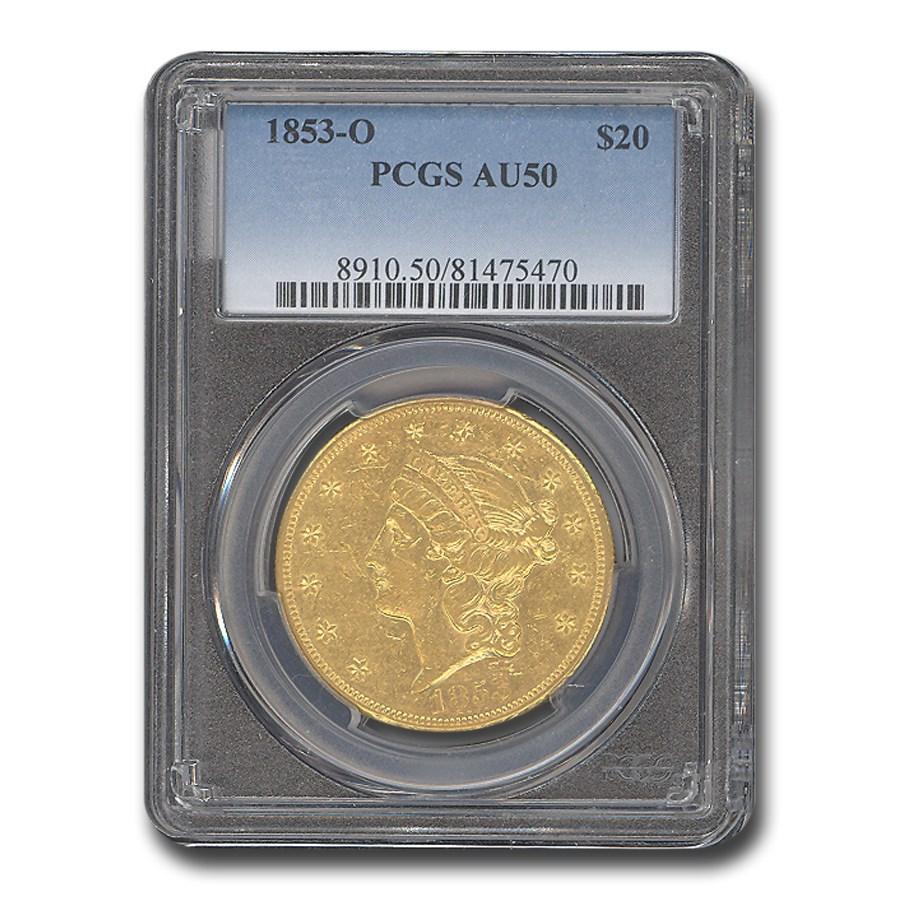1853-O $20 Liberty Gold Double Eagle AU-50 PCGS