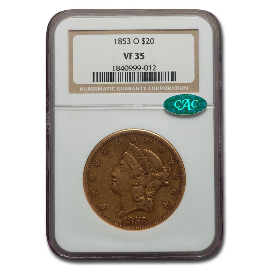 1853-O $20 Liberty Gold Double Eagle VF-35 NGC CAC