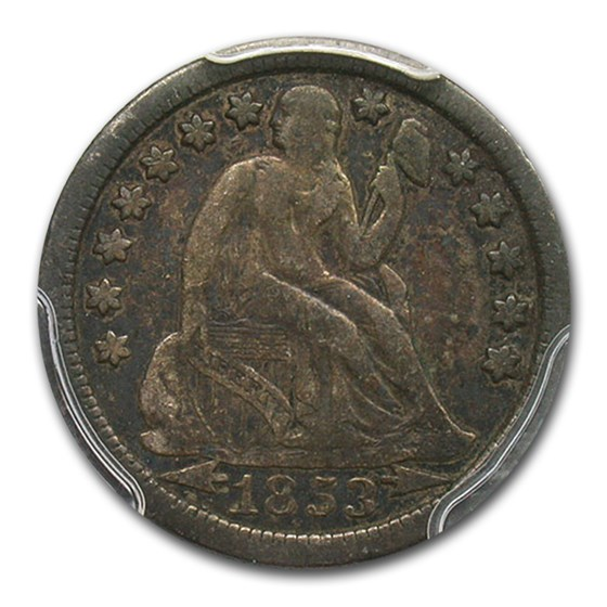 1853-O Liberty Seated Dime Fine-12 PCGS (Arrows)