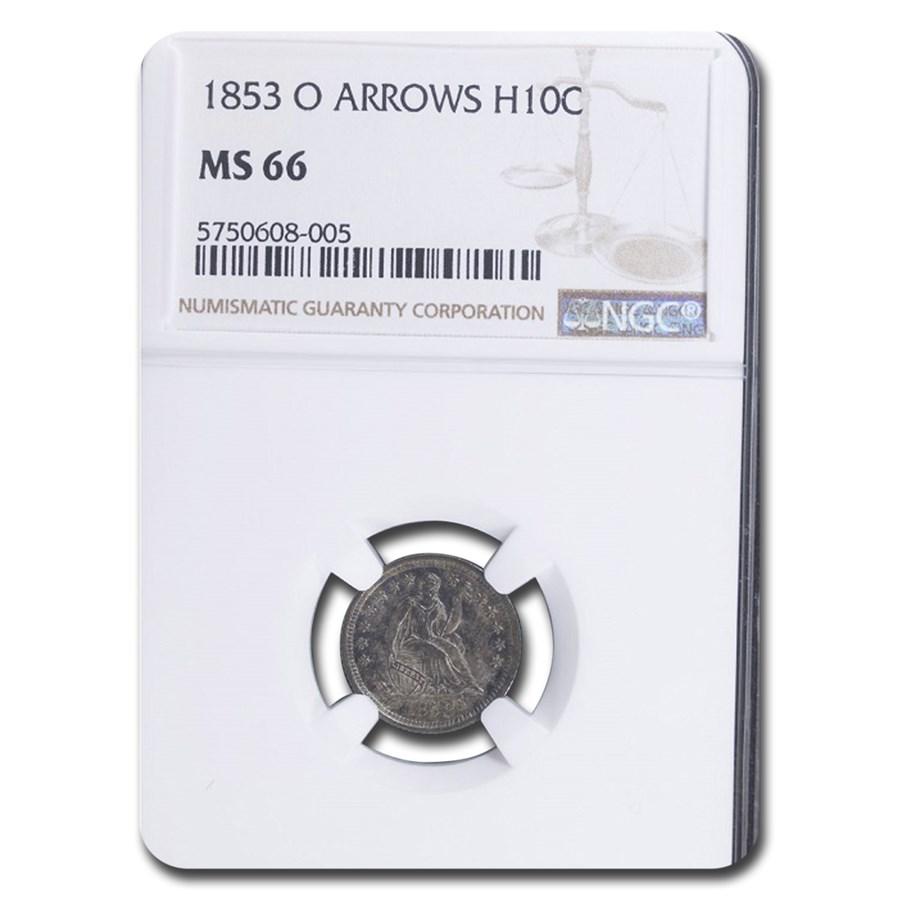 1853-O Liberty Seated Half Dime w/Arrows MS-66 NGC