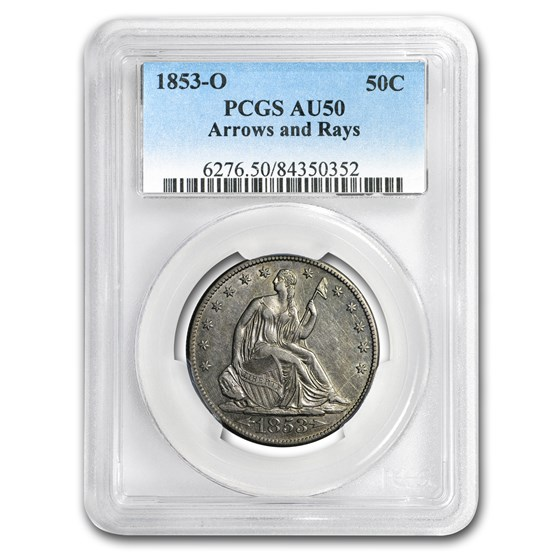 1853-O Liberty Seated Half Dollar AU-50 PCGS