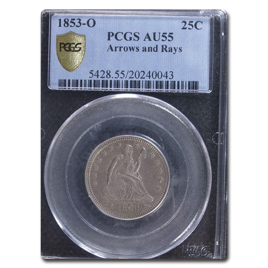 1853-O Liberty Seated Quarter w/ Arrows and Rays AU-55 PCGS