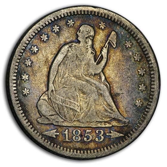 1853-O Liberty Seated Quarter w/Arrows & Rays Fine