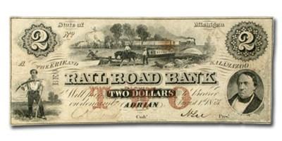 1853 Rail Road Bank, Adrian, MI $2 MI-10, VF
