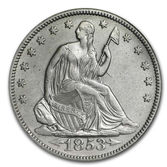 1853 Seated Half Arrow & Rays NGC (SS-Republic, Book display)
