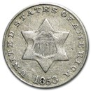 1853 Three Cent Silver Fine