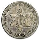 1853 Three Cent Silver VF