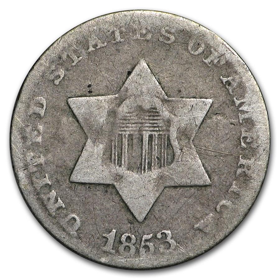 1853 Three Cent Silver VG