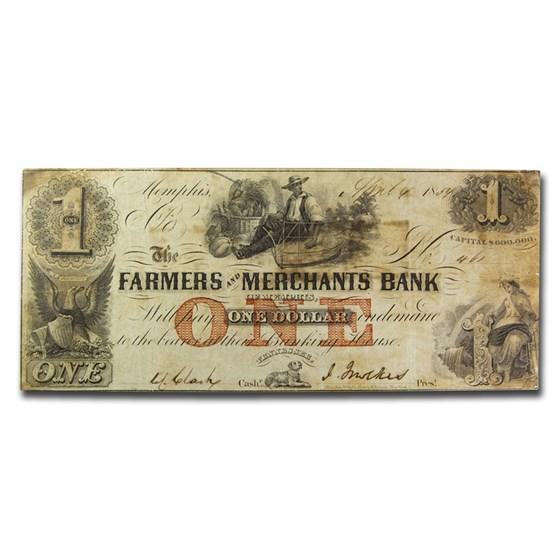 1854 $1.00 Farmers & Merchants Bank of Memphis, TN VF